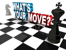 What is your move. Words with chess elements. concept of strategic business decisions Royalty Free Stock Photos