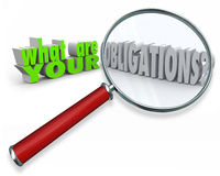 What Are Your Obligations Magnifying Glass 3d Words Stock Photo
