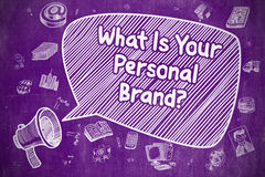 What Is Your Personal Brand - Business Concept. Speech Bubble with Phrase What Is Your Personal Brand Cartoon. Illustration on Purple Chalkboard. Advertising Stock Images