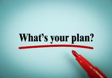 What is your plan. Text is written on blue paper with a red marker aside Royalty Free Stock Photography