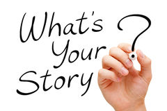 What Is Your Story Handwritten On White. Hand writing What Is Your Story with black marker isolated on white Royalty Free Stock Photo