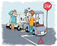 whatching他们的事故汽车的两个司机 向量例证