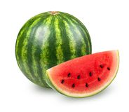 Whatermelon isolated on white. Whatermelon with slice isolated on white background. Clipping path included Stock Photo