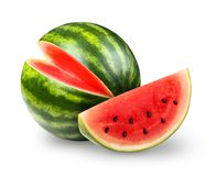 Whatermelon isolated on white. Whatermelon with slice isolated on white background. Clipping path included royalty free stock photography