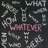 Whatever answer. Frequently asked questions handwritten on a blackboard stock illustration