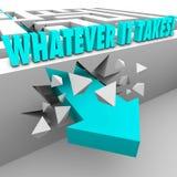 Whatever It Takes Arrow Breaks Through Maze Wall Reach Your Goal Royalty Free Stock Photo