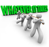 Whatever It Takes Team People Pulling Words Overcoming Obstacle Stock Images