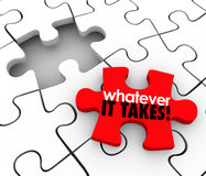 Whatever It Takes Words Puzzle Piece Finish Complete Job Task Pr. You'll Fit Right In words on a puzzle piece to fill a gap in a group, team, company or Stock Photos