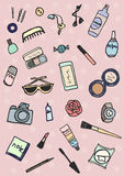 Whats in the bag. Hand drawn collection of accessories and make-up Stock Image