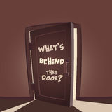 Whats behind that door. ? Open door illustration Stock Photography