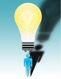 Whats the big idea?. A large bulb sits above a figures head Stock Illustration
