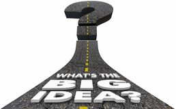 Whats the Big Idea Question Mark Road Plan Strategy 3d Illustrat. Ion Stock Photo