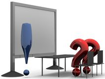 Whats going on. Two asking marks are looking to  board and are taught by exclamation mark. High resolution 3D render Stock Photo