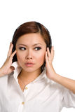 Whats that i hear in my headphones Royalty Free Stock Image