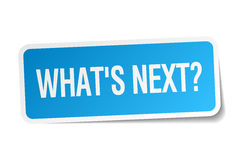 Whats next blue square sticker Stock Photography