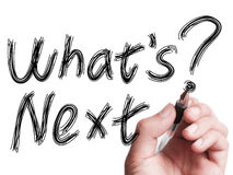 Whats Next. Hand with pen is writing  Whats Next on transparent white board Royalty Free Stock Photos