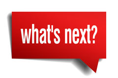 Whats next red 3d paper speech bubble. Whats next red 3d realistic paper speech bubble Royalty Free Stock Photos