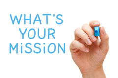 Whats Your Mission. Hand writing What`s Your Mission with blue marker on transparent wipe board Stock Images