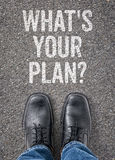 Whats your plan. Text on the floor - Whats your plan Royalty Free Stock Images