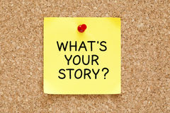 Whats Your Story Sticky Note. What`s Your Story, written on an yellow sticky note pinned on a cork bulletin board royalty free stock photos