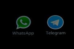 WhatsApp和电报传讯apps 库存照片