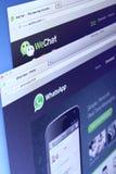 WhatsApp和WeChat网页 库存图片