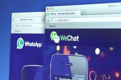 WhatsApp和WeChat网页 图库摄影