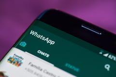 Whatsapp app στο τηλέφωνο Στοκ Φωτογραφία