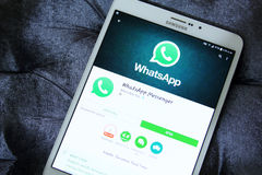 Whatsapp app. Lication on samsung tablet s2 Royalty Free Stock Photos