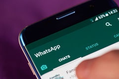 Whatsapp app menu. New york, USA - May 22, 2017: Whatsapp app menu  on modern smartphone macro. Man using whatsapp application Royalty Free Stock Photography
