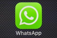 Whatsapp-Bote-Anwendungsikone auf Apple-iPhone 8 Smartphone-Schirmnahaufnahme Whatsapp-Bote-APP-Ikone Lizenzfreie Stockbilder