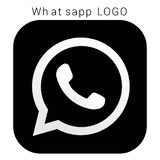 WhatsApp logo with vector Ai file. Squred Black & white stock illustration