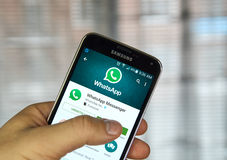 Whatsapp mobile application on a cell phone. stock images