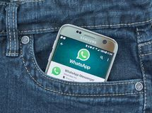 Whatsapp mobile application on screen of Samsung. MONTREAL, CANADA - SEPTEMBER 28, 2017 - Whatsapp mobile application on screen of Samsung S7. WhatsApp Messenger stock photo
