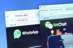 WhatsApp and weChat Webpage Royalty Free Stock Photo