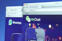 WhatsApp and WeChat webpage Stock Photography