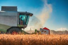Whe mûr d'or de recolte mécanique d'agriculture de moissonneuse de cartel images stock