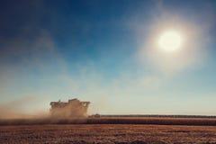 Whe maturo dorato di raccolto meccanico di agricoltura della mietitrebbiatrice Fotografie Stock Libere da Diritti