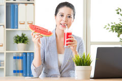 Whe you drinking watermelon juice will be really enjoyment Royalty Free Stock Photo