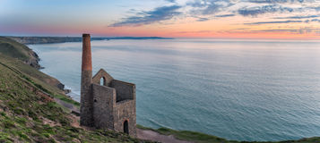 Wheal Coates on the Cornish Coast. The ancient ruins of an engine house left over from the days of tin mining, perched on cliffs at Wheal Coates near St Agnes on Royalty Free Stock Photos