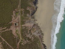 Wheal Coates Engine House from Above. UAV/drone photo from above of Wheal Coates Engine House, Cornwall, UK Royalty Free Stock Photos