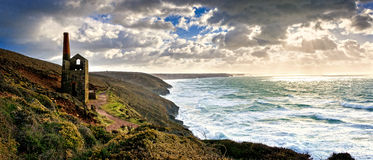 Wheal Coates Engine house. Wheal Coates Tin Mine Engine House, St Agnes, Cornwall, United Kingdom. Winters stormy day Royalty Free Stock Photo