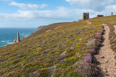 Wheal Coates North Cornwall coastline. North Cornwall coastline at St Agnes showing the old tin mine workings of Wheal Coates, south west England Royalty Free Stock Photos
