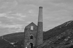 Wheal Coates. Stunning Cornish landscape featuring the long abandoned wheal coates mine. Taken in glorious black and white Royalty Free Stock Photo