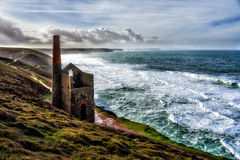Wheal Coates tin mine. Towanroath Pumping Engine House, part of the Wheal Coates tin mine, St Agnes, Cornwall, United Kingdom Royalty Free Stock Images