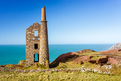 Wheal Owles Cornwall. Wheal Owles at Botallack used as the filming  location of the ficticious Wheal Leisure in the 2015 TV series Poldark Royalty Free Stock Photos