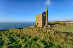 Wheal Owles Engine House. Blue skies over Wheal Owles, a Cornish Engine House at Botallack near Land`s End in Cornwall Stock Image