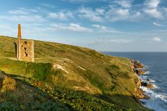 Wheal Prosper Engine House, Rinsey Cove, Cornwall. Wheal Prosper Engine House catching the late afternoon sun at Rinsey Cove, Cornwall royalty free stock photos