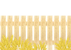 Wheat background. With wooden fence Stock Photography