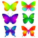 Colorful butterflies with triangular polygons Stock Photos